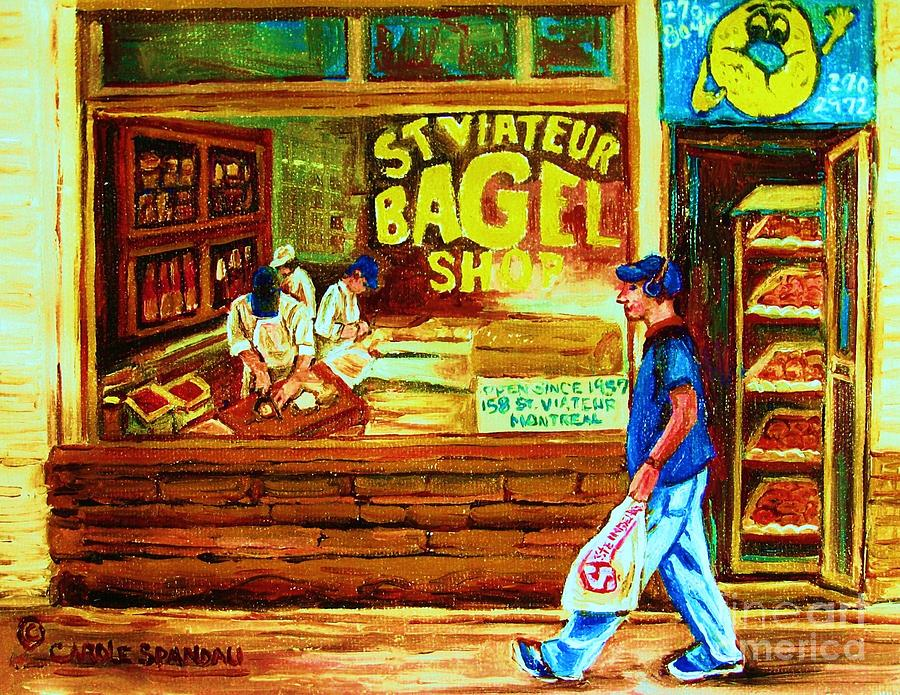 St.viateur Bagel Painting - Boy With The Steinbergs Bag by Carole Spandau