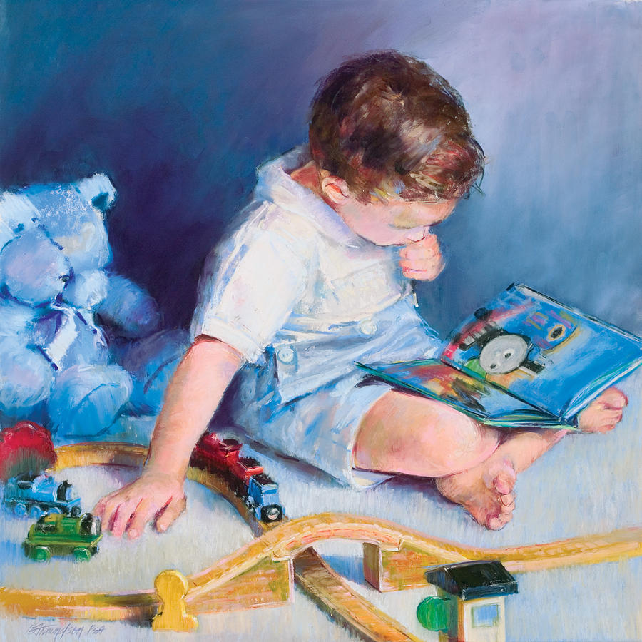 Child Pastel - Boy With Train by Beverly Amundson