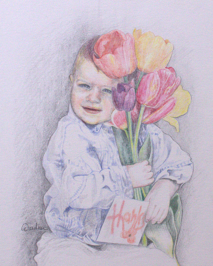 Boy Drawing - Boy With Tulips by Kathy Weidner