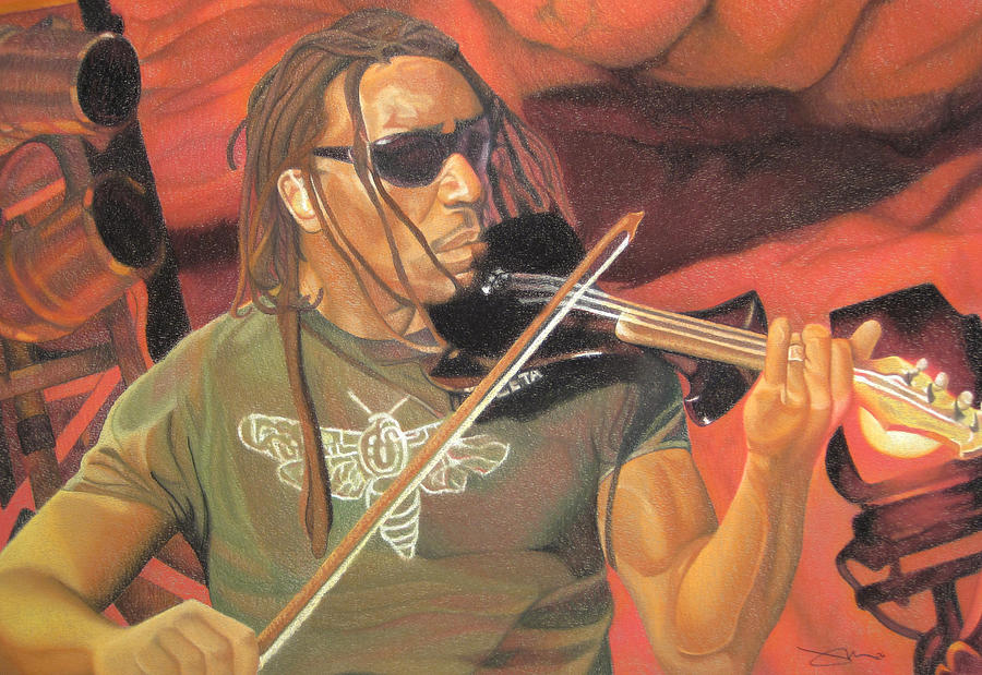 Boyd Tinsley Drawing - Boyd Tinsley At Red Rocks by Joshua Morton