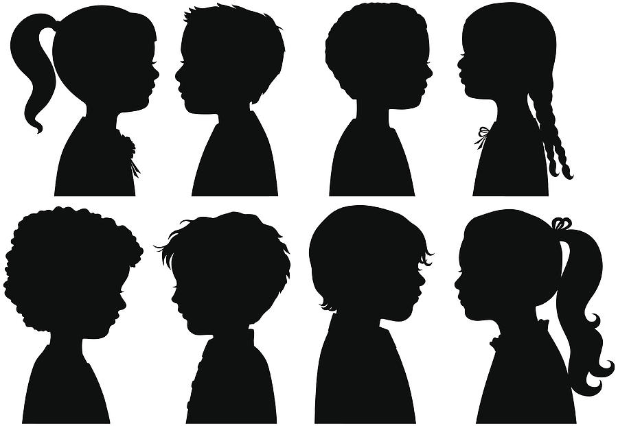 Boys and Girls in Silhouette Drawing by SongSpeckels