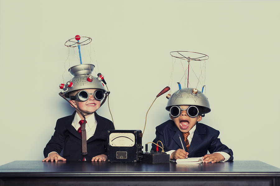 Boys Dressed as Businessmen Wearing Mind Reading Helmets Photograph by RichVintage