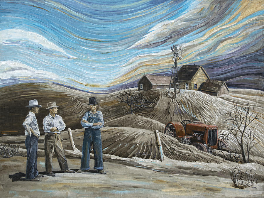 Dust Bowl Painting - Boys My Moneys All Gone by Paula McHugh