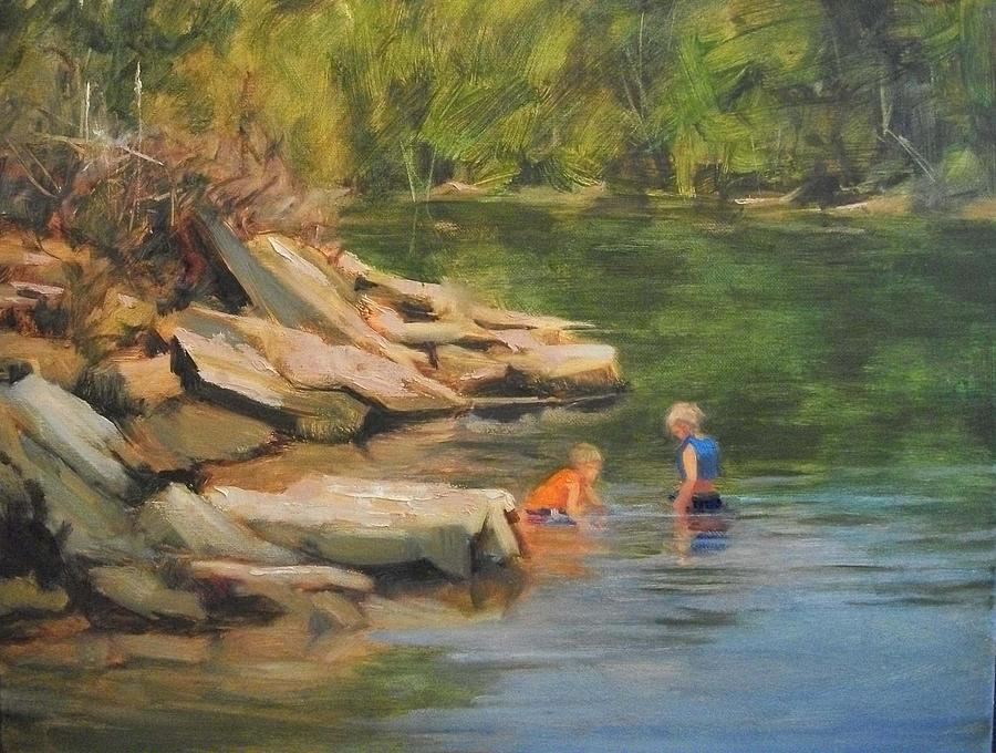 Boys Painting - Boys Playing In The Creek by Margaret Aycock