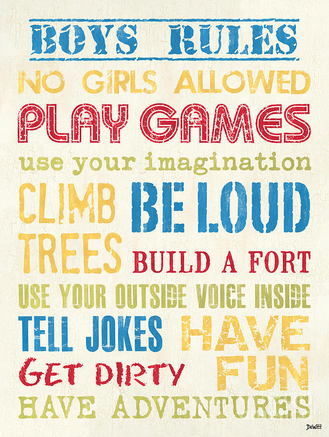 Rules Painting - Boys Rules by Debbie DeWitt