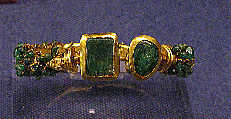 Ancient Bracelet Emeralds Photograph - Bracelet With Emeralds by Andonis Katanos