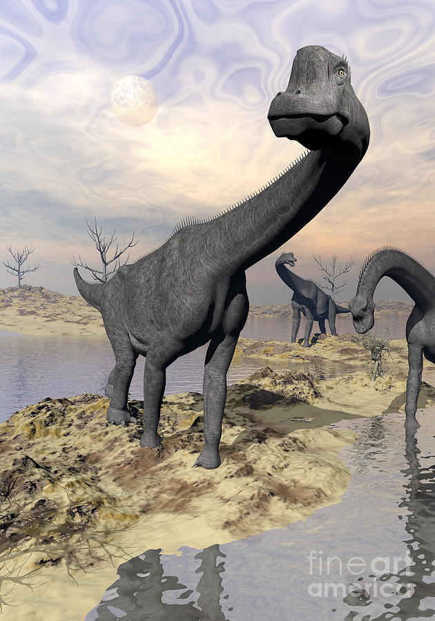 Dinosaur Digital Art - Brachiosaurus Dinosaurs Near Water by Elena Duvernay
