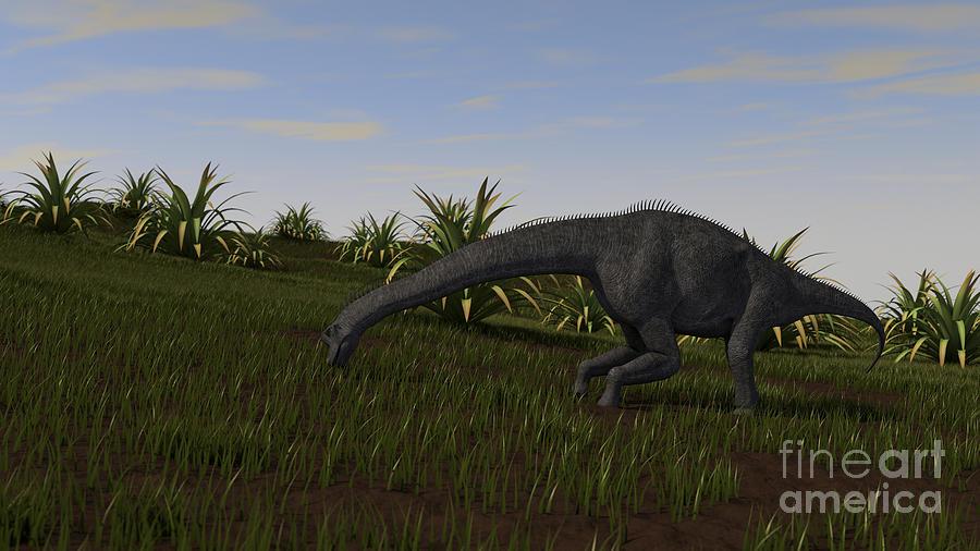 Brachiosaurus Digital Art - Brachiosaurus Grazing In A Grassy Field by Kostyantyn Ivanyshen
