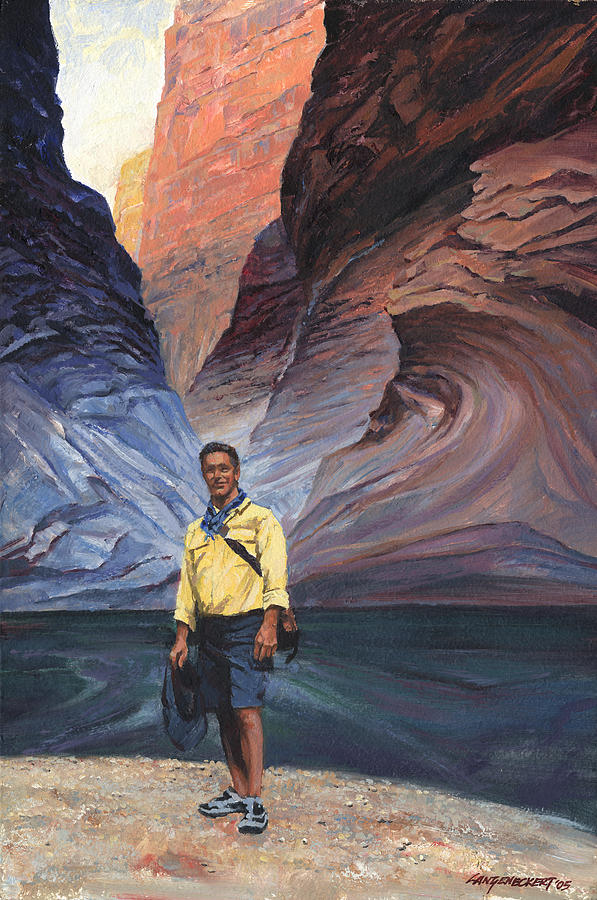 Don Painting - Brad At Supai Formation by Don  Langeneckert