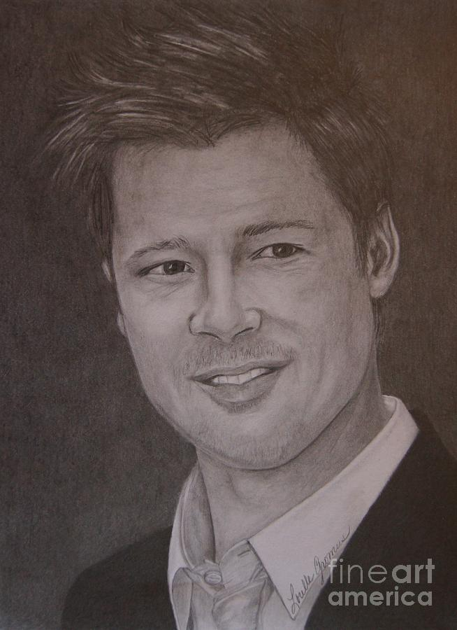 Actor Drawing - Brad Pitt by Lorelle Gromus
