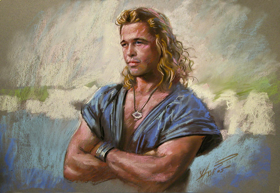 Brad Pitt Troy Drawing By Viola El