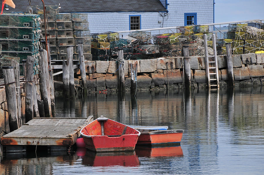 Seascape Photograph - Bradley Wharf Dinghies by Mike Martin