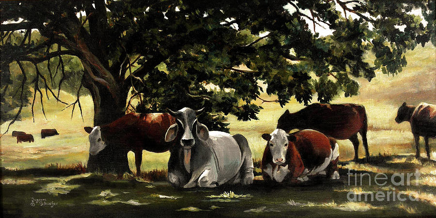 Cows In Pasture Painting - Brahmas Mamas by Suzanne Schaefer