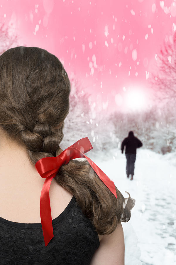 Girl Photograph - Braided Hair With Red Ribbon by Amanda Elwell