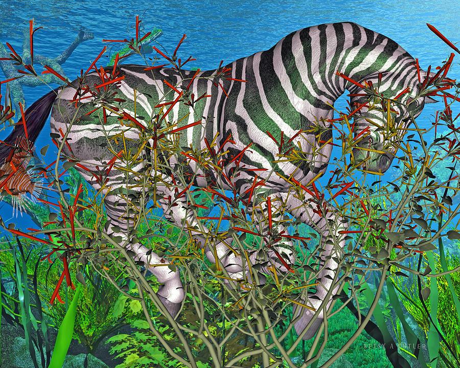 Zebra Digital Art - Bramble  by Betsy Knapp