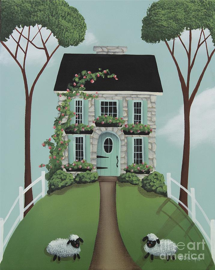 Primitive Painting - Brambleberry Cottage by Catherine Holman