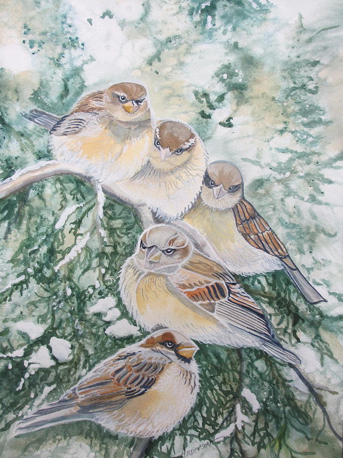 Birds Painting - Branch Office by Sherri Anderson