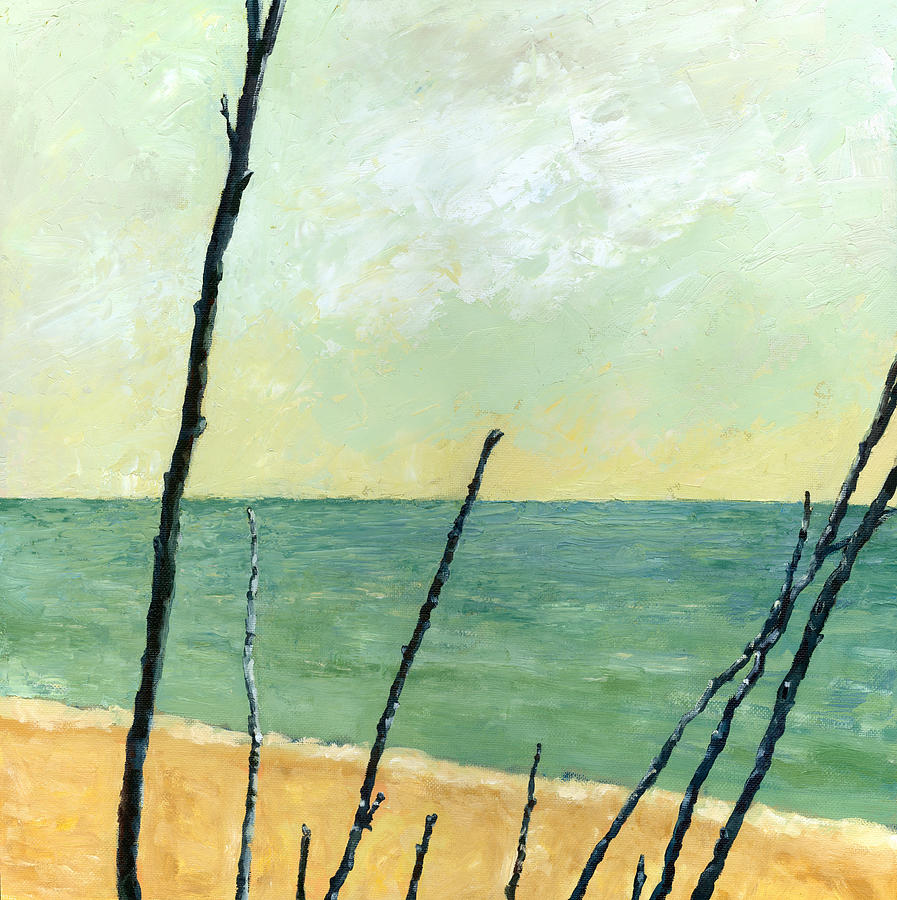 Beach Painting - Branches On The Beach - Oil by Michelle Calkins