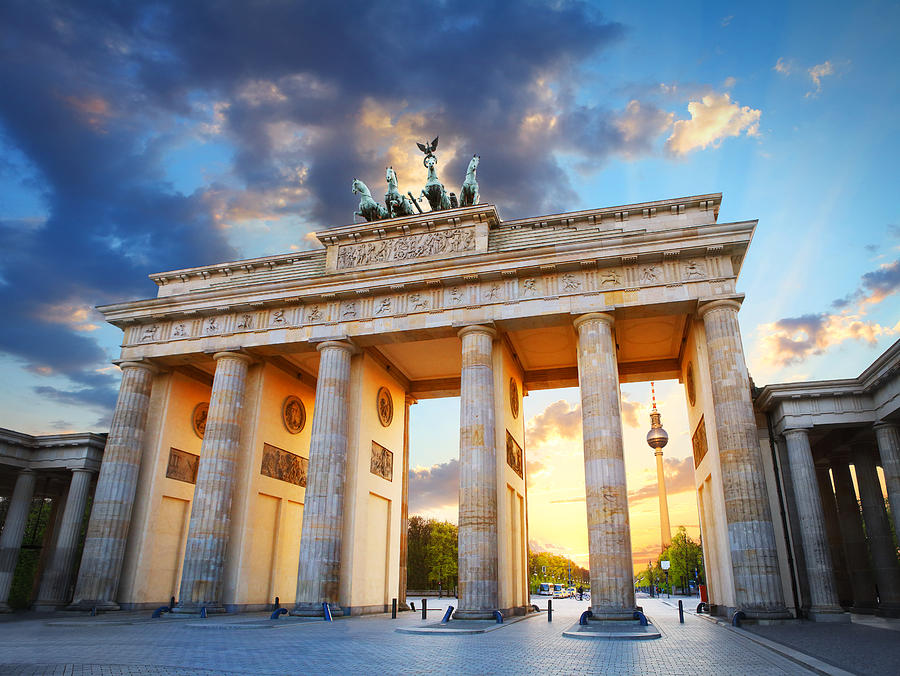 Brandenburg Gate And The Tv Tower In Berlin Photograph by Narvikk