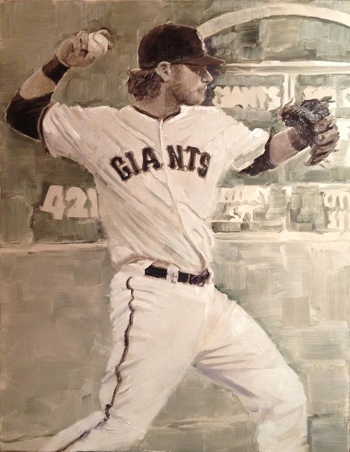 Sf Giants World Series Painting - Brandon Crawford Warmup by Darren Kerr