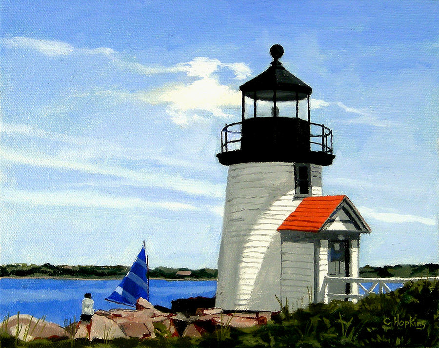 Christine Hopkins Painting - Brant Point Lighthouse Nantucket Massachusetts by Christine Hopkins