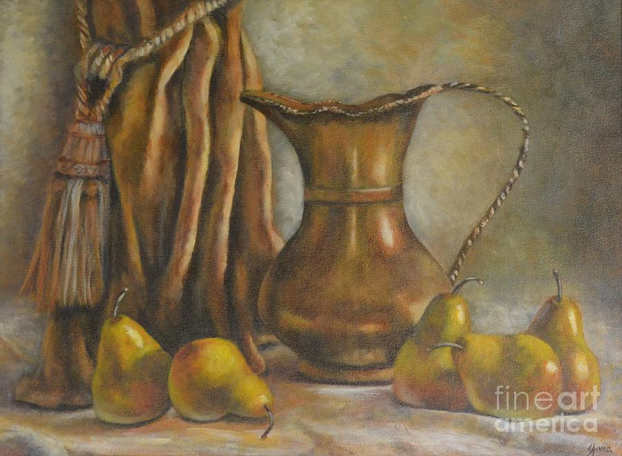 Still Life Painting - Brass And Pears by Jana Baker