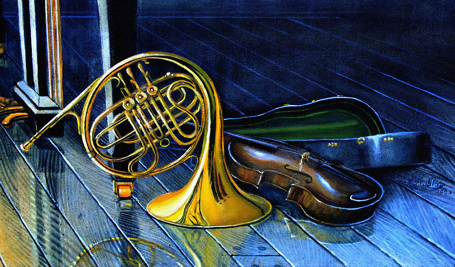 Musical Instrument Still Life Painting - Brass And Strings by Hanne Lore Koehler
