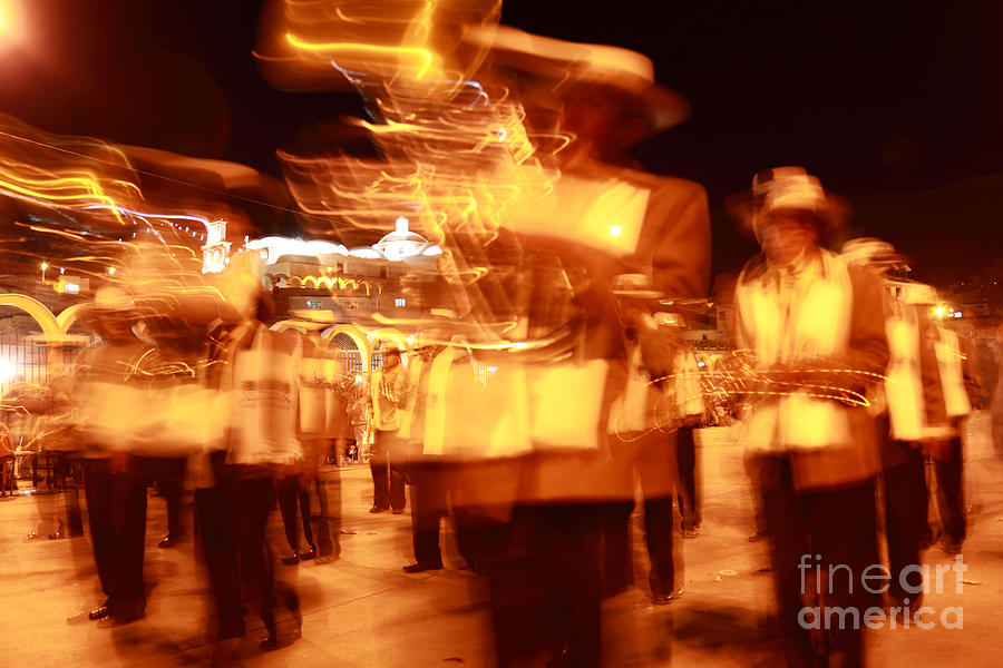 Brass Band Photograph - Brass Band At Night by James Brunker