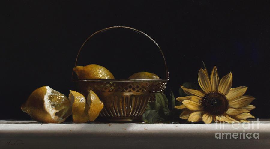 Lemons Painting - Brass Basket No.2 by Lawrence Preston