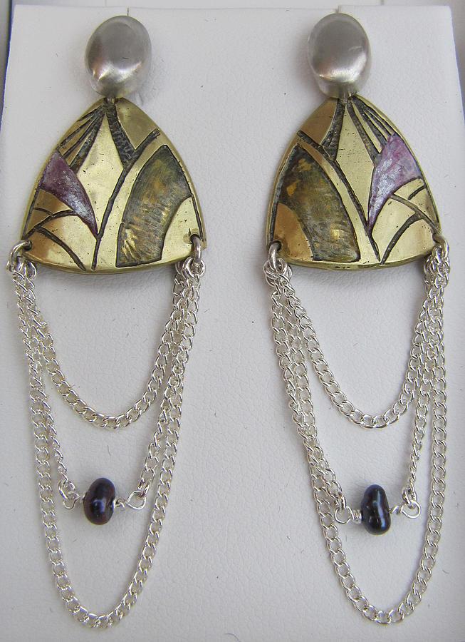 Brass Jewelry - Brass Eetching Lavender Chain Earrings by Brenda Berdnik