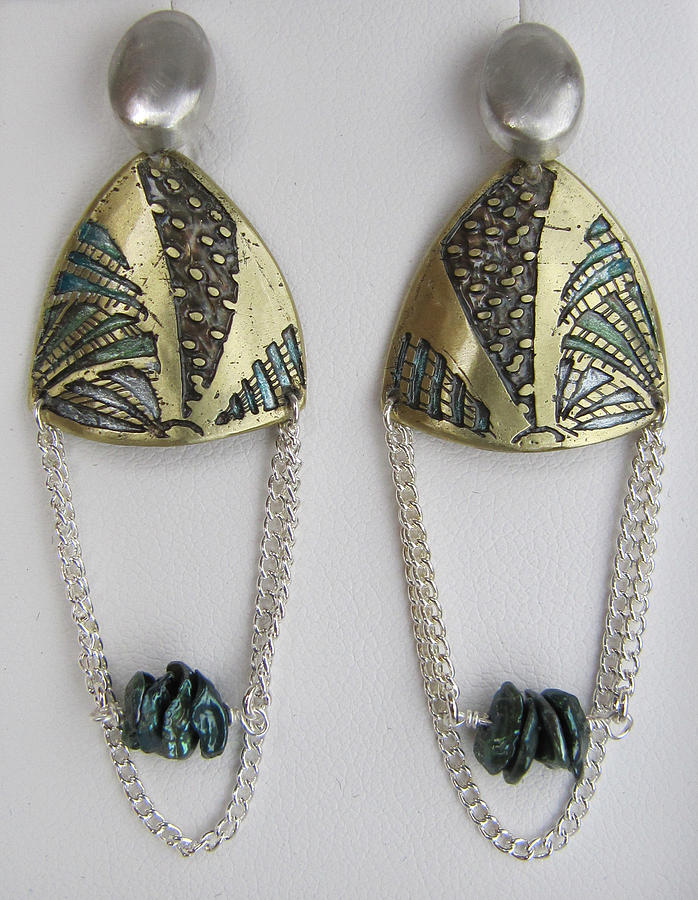 Sterling Silver Jewelry - Brass Etching Green Teal Earrings by Brenda Berdnik
