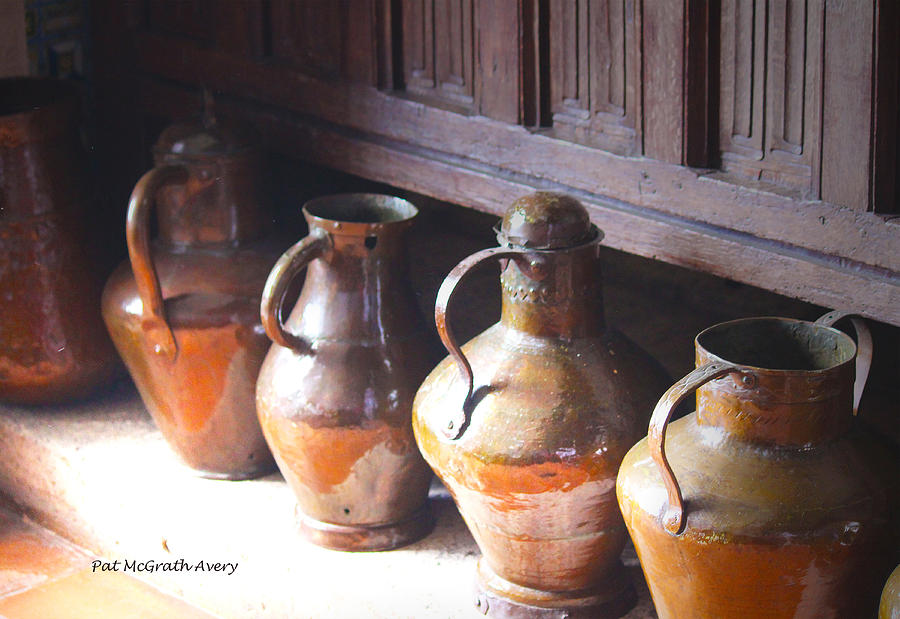 Santo Domingo Photograph - Brass Pots From 16th Century Columbus Home by Pat McGrath Avery
