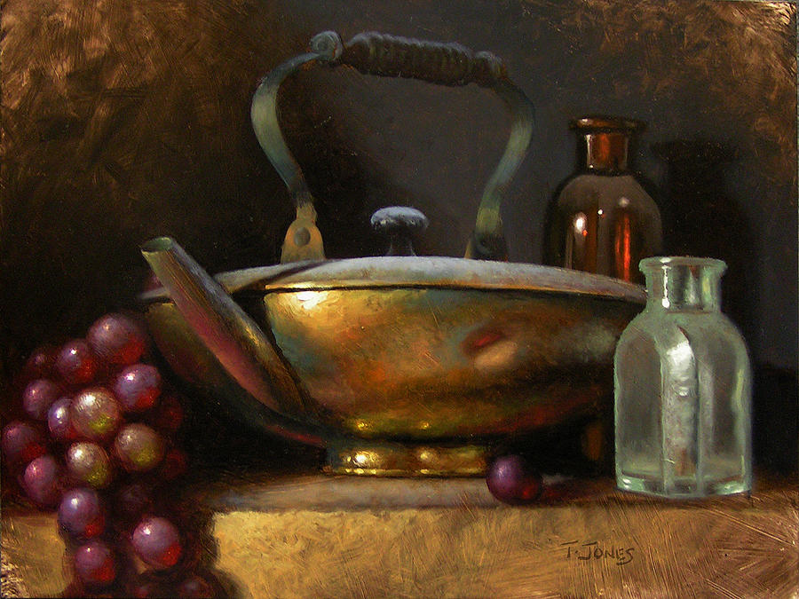 Brass Painting - Brass Teapot And Antique Glass by Timothy Jones