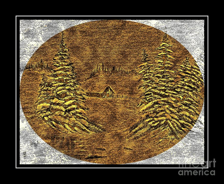 Frozen Pond Digital Art - Brass-type Etching - Oval - Cabin Between The Trees by Barbara Griffin