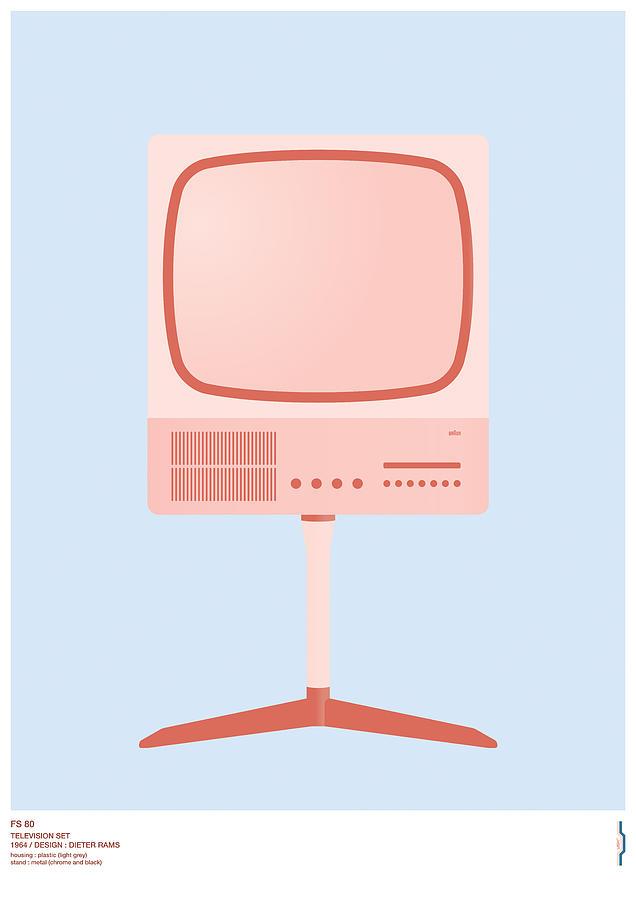 Braun Digital Art - Braun Fs 80 Television Set - Dieter Rams by Peter Cassidy