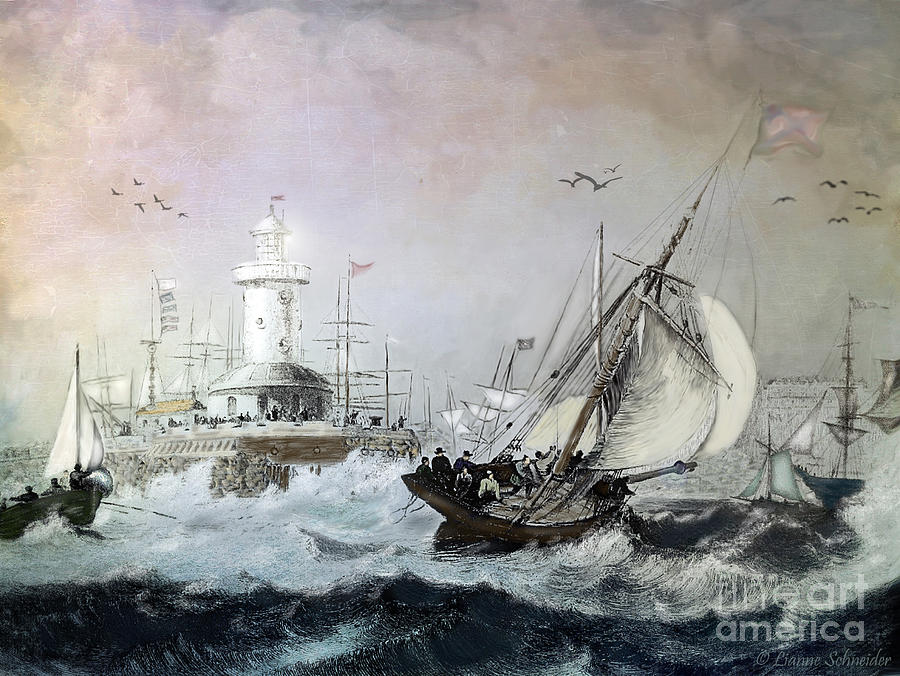 Seascapes Digital Art - Braving The Storm by Lianne Schneider