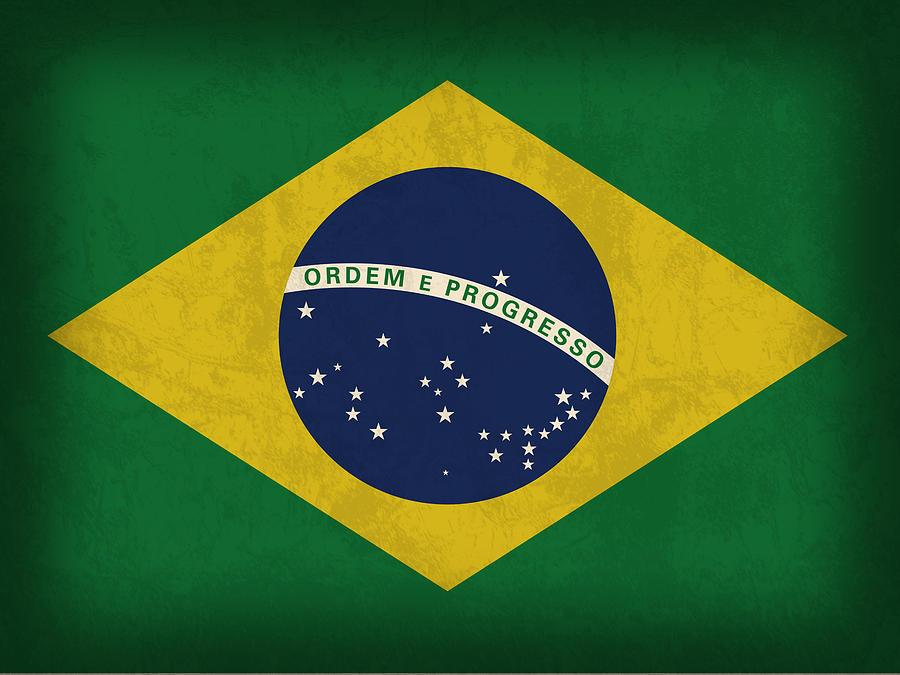 Brazil Flag Mixed Media - Brazil Flag Vintage Distressed Finish by Design Turnpike