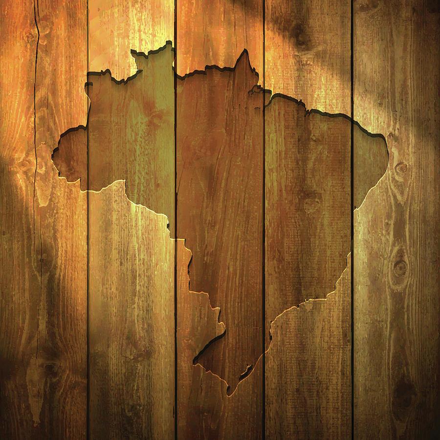 Brazil Map On Lit Wooden Background Digital Art by Bgblue