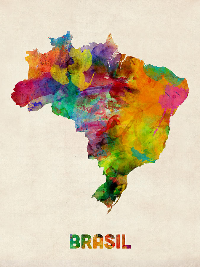 Map Art Digital Art - Brazil Watercolor Map by Michael Tompsett