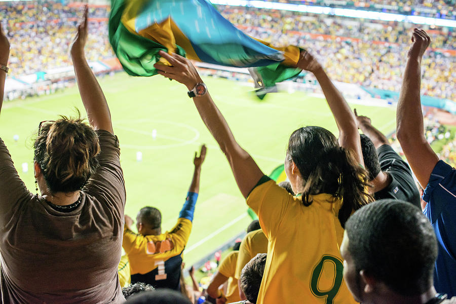 Brazilian Fan Celebrating Goal Photograph by Ramiro Olaciregui