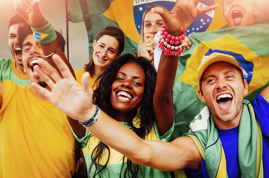 Brazilian Fans At Stadium Photograph by Filippobacci
