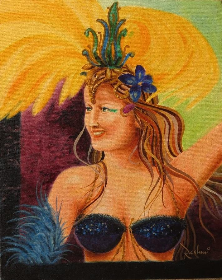 Oil On Canvas Painting - Brazillian Carnival by R Panchal