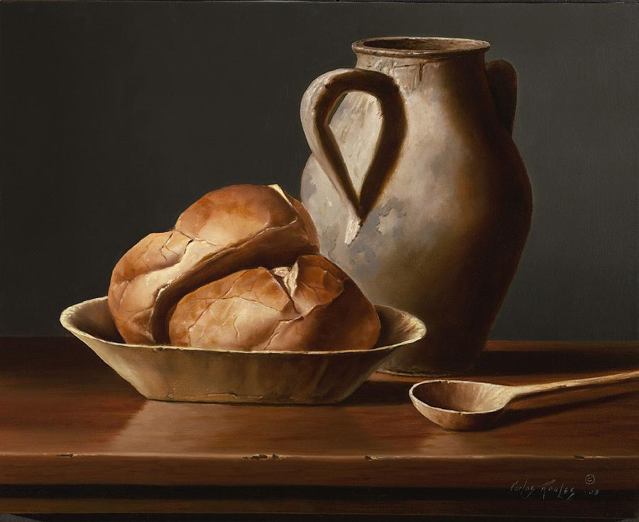 Still Life Painting - Bread and Spoon by Carlos Reales