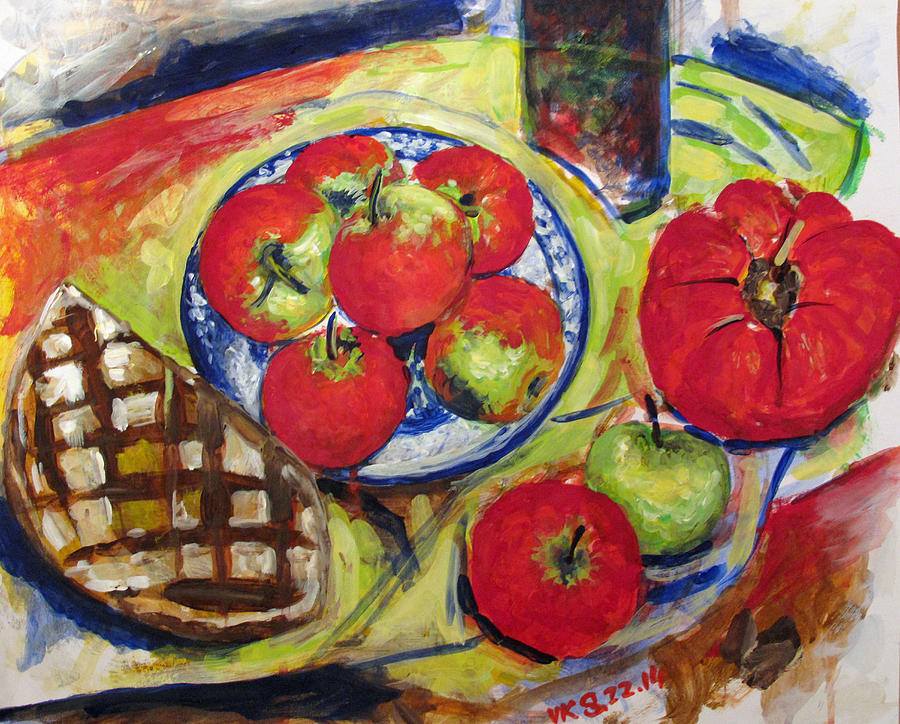 Still Life Painting - Bread Tomato And Apples by Vladimir Kezerashvili