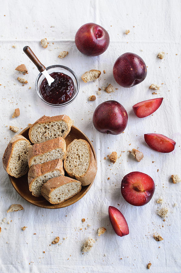 Breads, Jams And Plums On A Sunny Photograph by For Contact Email Me In Mauchua@gmail.com