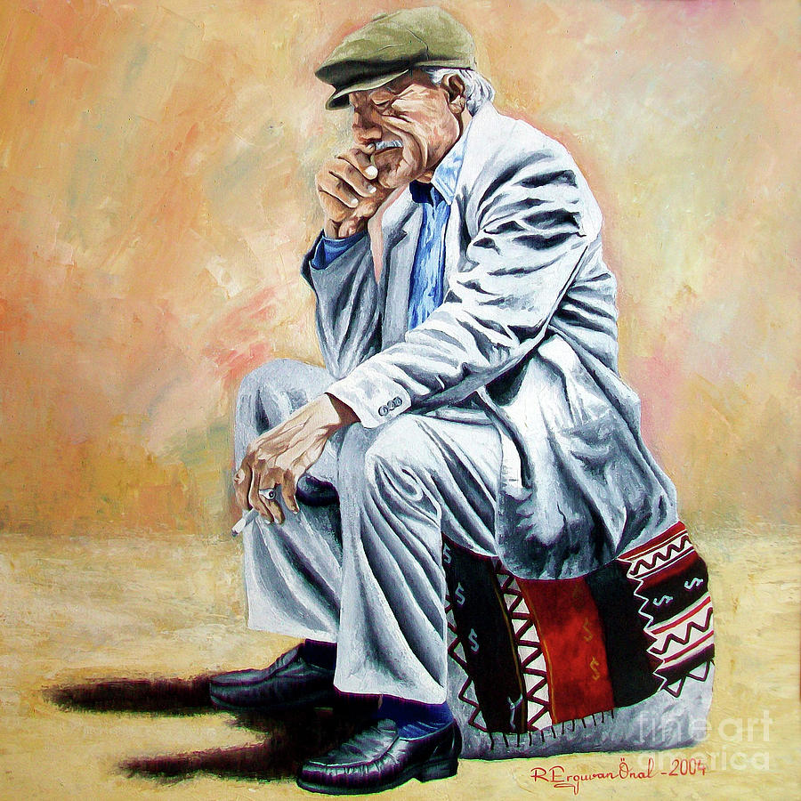 Figurative Painting - Break For Smoking - Apeadero Para Fumar by Rezzan Erguvan-Onal