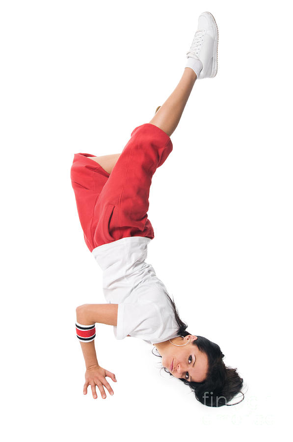 Breakdancing Girl Doing Handstand Photograph