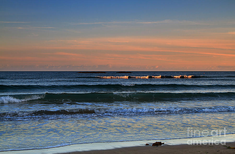 Sunset Photograph - Breakers At Sunset by Louise Heusinkveld