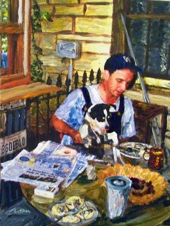 Salado Texas Painting - Breakfast At Roy Ts With Dog by GretchenArt FineArt