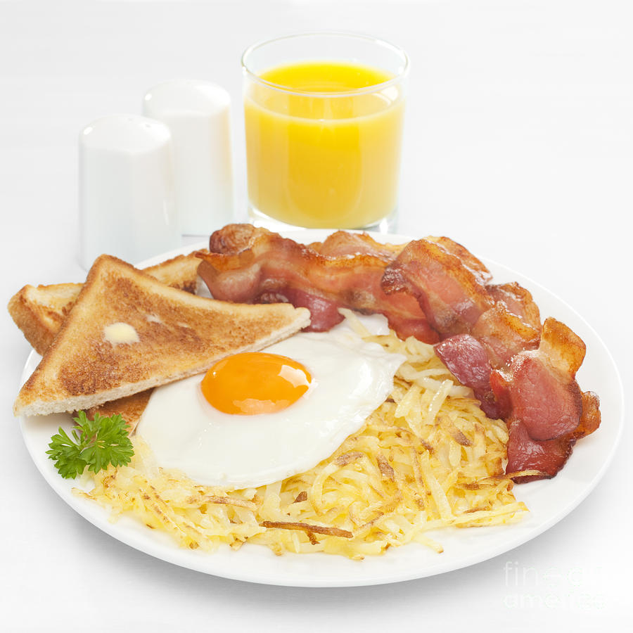 American Breakfast Photograph - Breakfast Hash Browns Bacon Fried Egg Toast Orange Juice by Colin and Linda McKie